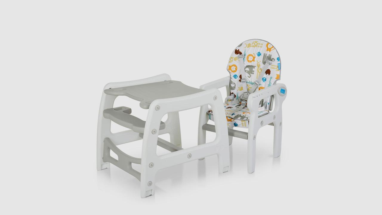 Стульчик для кормления 2в1.M1563ANIMALGRAY.Столик и стульчик.Животные.Серый