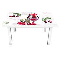 Наклейка на стол Вишневый Сок (3Д виниловая пленка ПВХ) красные ягоды Напитки Бежевый 600*1200 мм, фото 1