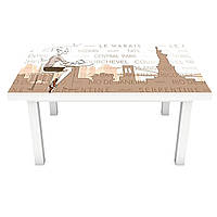 Наклейка на стіл Статуя Свободи 3Д вінілова плівка ПВХ дівчина місто Люди Бежевий 600*1200 мм