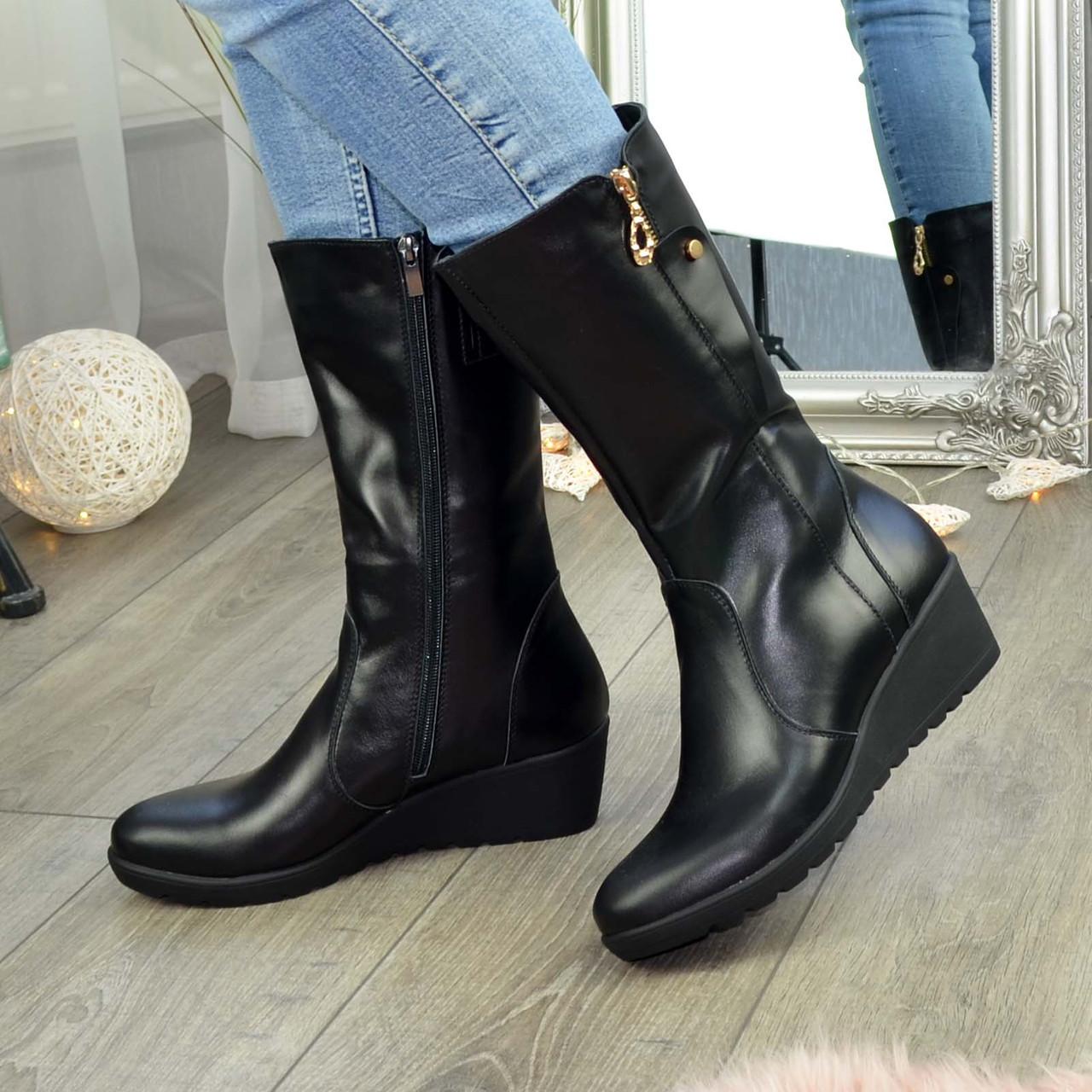 Жіночі демісезонні черевики на невисокій платформі, натуральна чорна шкіра