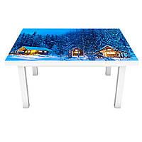 Наклейка на стол Зима Вечер в лесу (3Д виниловая пленка ПВХ) деревья снег Природа Голубой 600*1200 мм