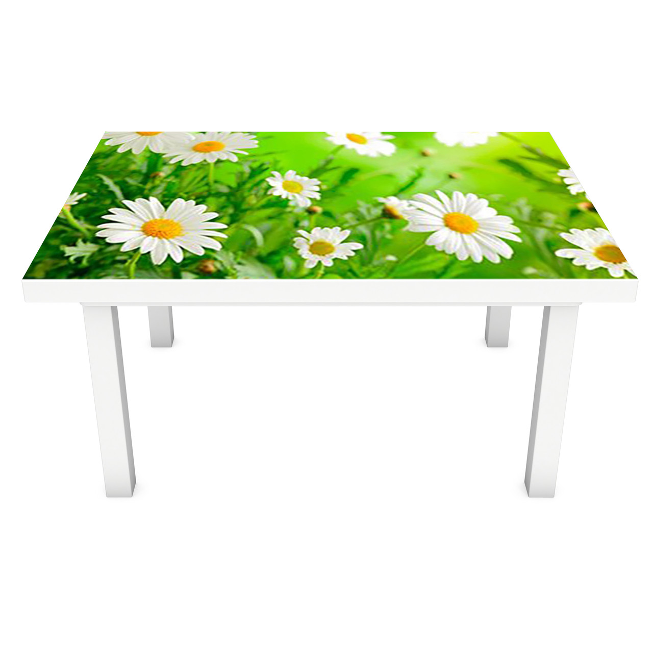 Наклейка на стол Живые Ромашки (3Д виниловая пленка ПВХ) Цветы Зеленый 600*1200 мм