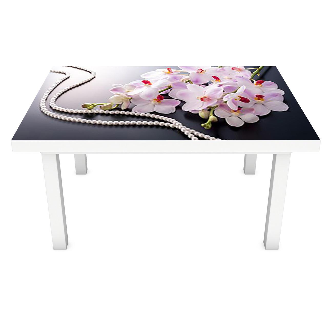 Наклейка на стіл Перли Орхідеї 3Д вінілова плівка ПВХ Квіти Сірий 600*1200 мм