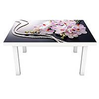Наклейка на стіл Перли Орхідеї 3Д вінілова плівка ПВХ Квіти Сірий 600*1200 мм, фото 1