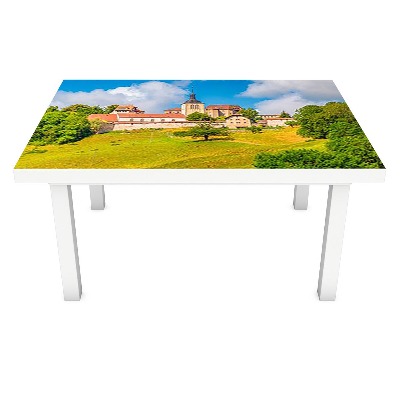Наклейка на стол Город в лесу (3Д виниловая пленка ПВХ) Архитектура Зеленый 600*1200 мм