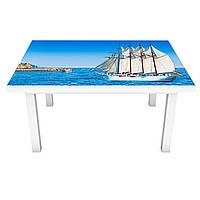 Наклейка на стол Белый Парусник (3Д виниловая пленка ПВХ) корабль Море Голубой 600*1200 мм, фото 1