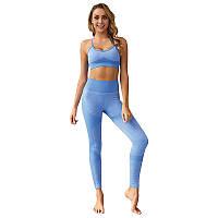 Женский комплект лосины и топ для фитнеса Lesko ZC-1976 Light Blue L для спорта йоги пробежек тренировок