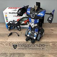Детская игрушка робот Трансформер Bugatti машина игрушечная на радиоуправлении на пульте для мальчиков синий