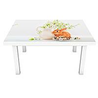 Наклейка на стіл Великодні Зайці 3Д вінілова плівка ПВХ Тварини Бежевий 600*1200 мм