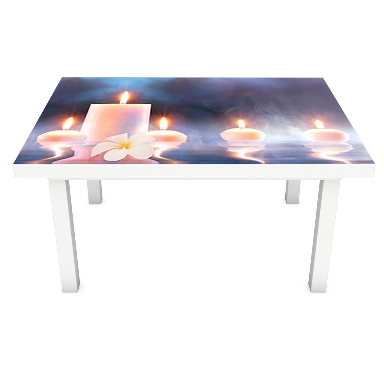 Наклейка на стол Свечи огни (3Д виниловая пленка ПВХ) цветы Абстракция Синий 600*1200 мм