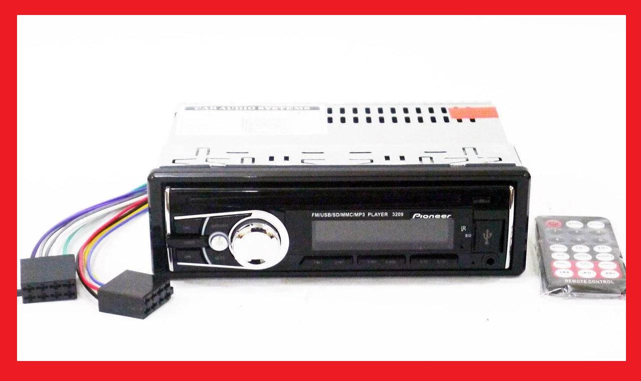 Автомагнитола Pioneer 3209 Usb+RGB подсветка+Fm+Aux+ пульт (4x50W)