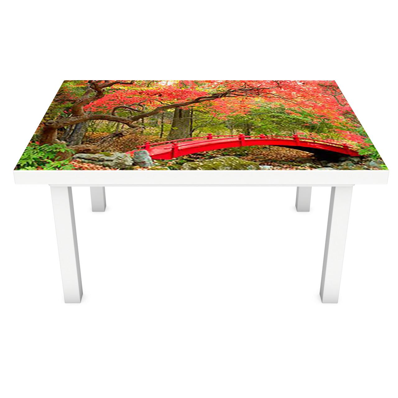 Наклейка на стол Красный мост (3Д виниловая пленка ПВХ) осенние деревья Природа Зеленый 600*1200 мм