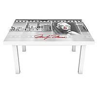 Наклейка на стіл Монро 3Д вінілова плівка ПВХ дівчина Люди Сірий 600*1200 мм