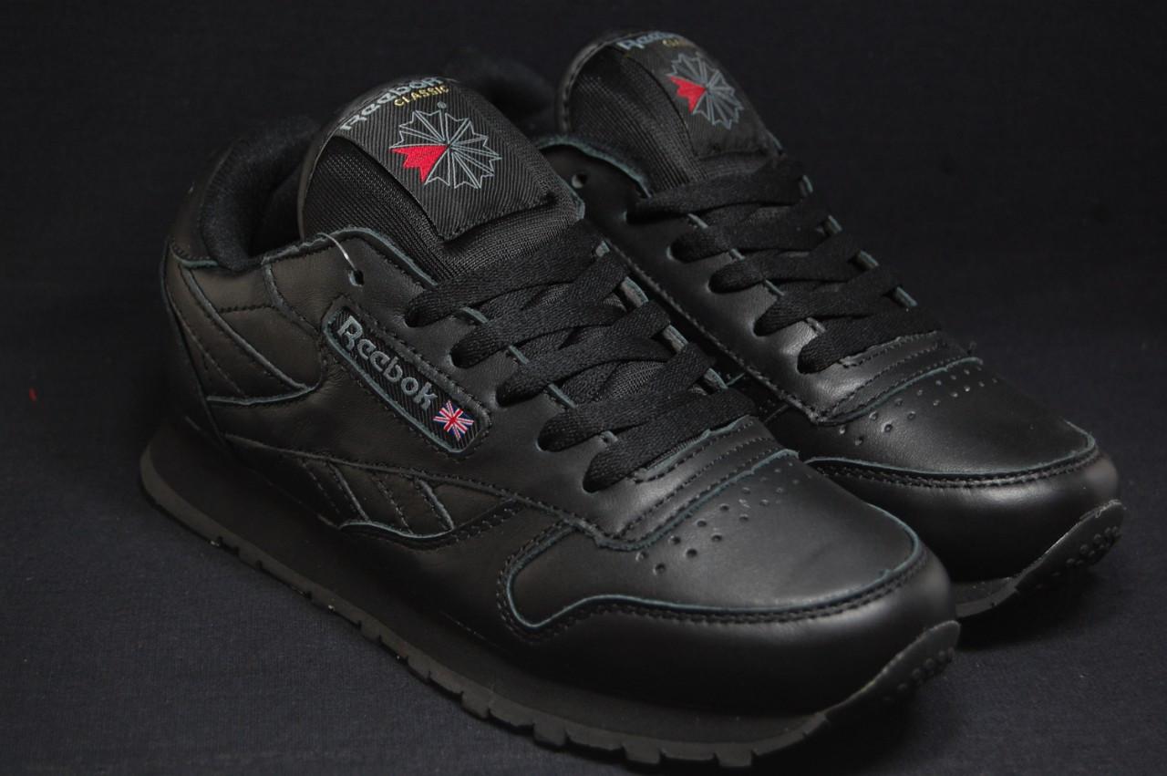 Кросівки жіночі, підліткові в стилі Reebok Classic Black шкіра 38 розмір