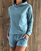 Прогулочный молодежный костюм из двунитки. Свитшот+шорты.