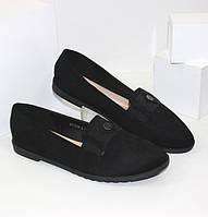 Туфли женские замшевые больших размеров 299YJ318D черный