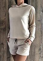 Бежевий спортивний костюм світшот+шорти.