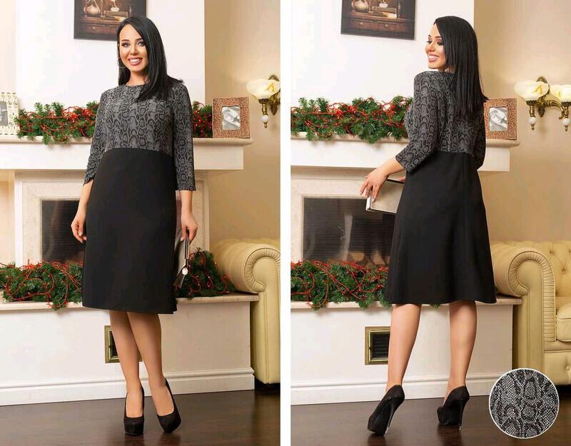 """Шикарное женское комбинированная платье, ткань """"Трикотаж масло"""" размер 60"""