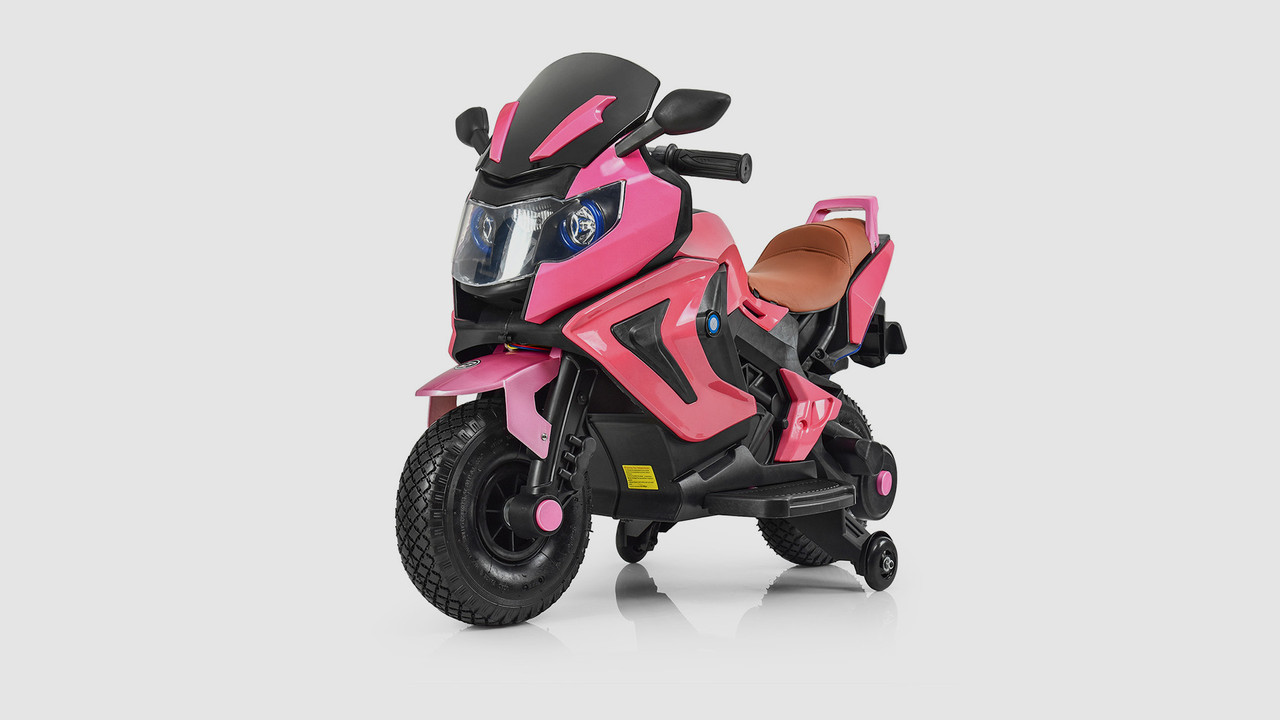 Электромобиль - мотоцикл BAMBI со световыми и звуковыми эффектами. Розовый