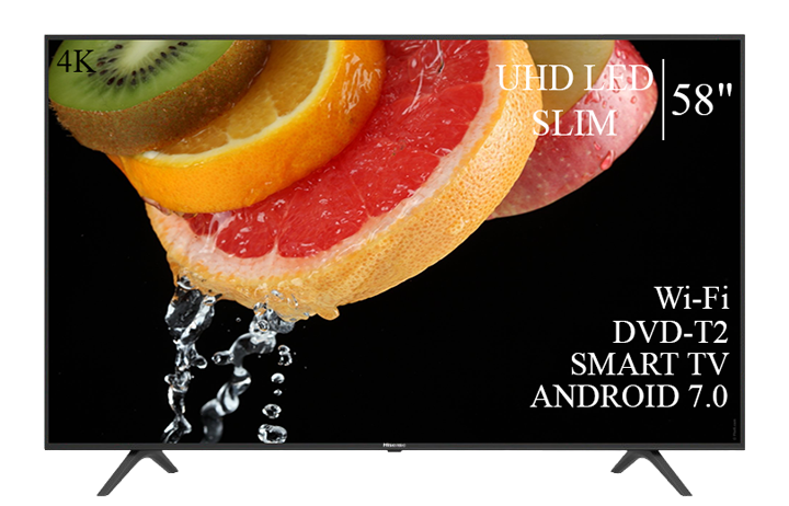 "Современный  Телевизор   Hisense 58"" Smart-TV/DVB-T2/USB Android 7.0 4К/UHD"