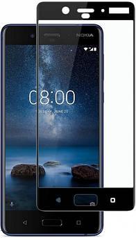 Захисне скло для Nokia 8 (Нокія 8) на весь екран (чорне,біле)