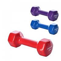 Гантели 2 кг с виниловым покрытием для фитнеса, йоги, пилатеса шестигранная 2 штуки 0290