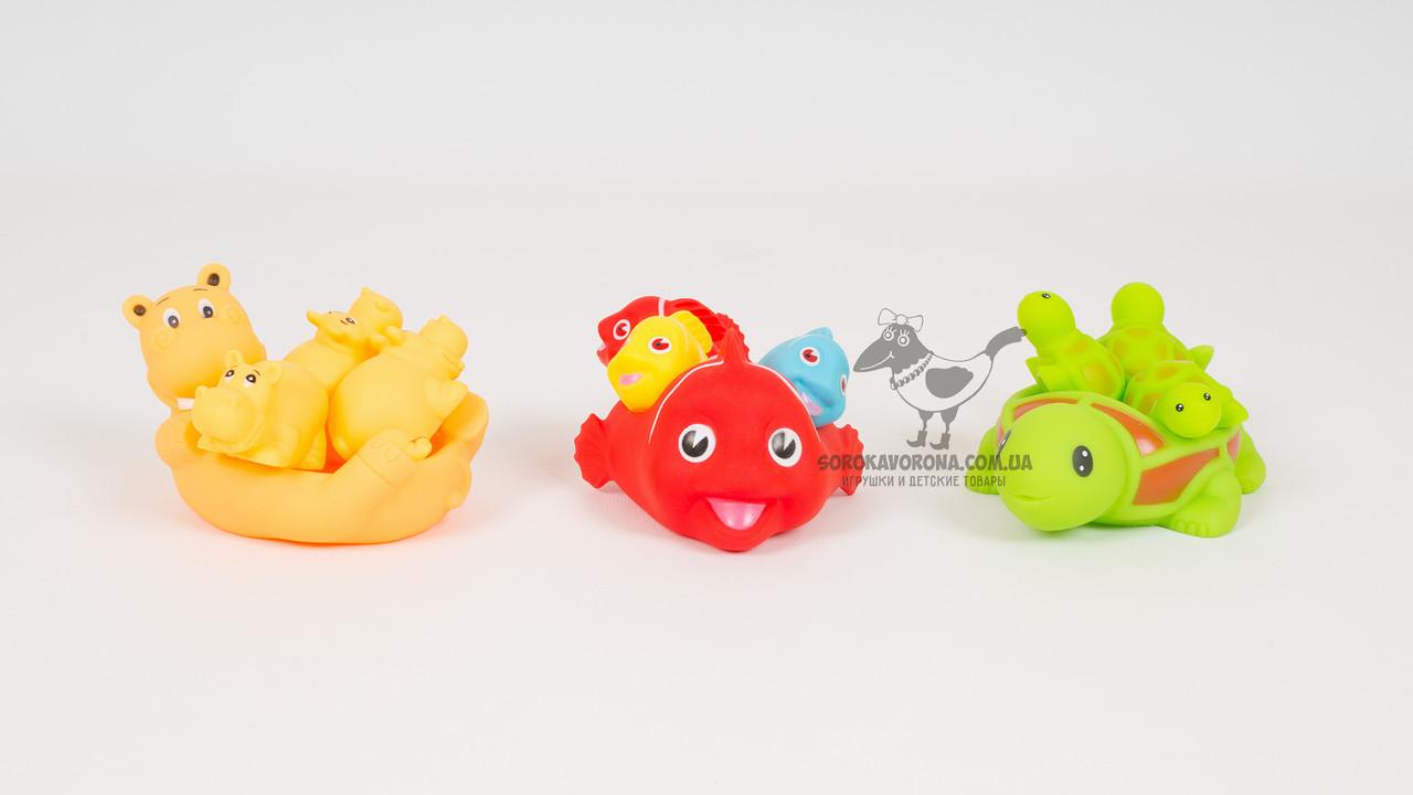 Іграшки-пищалки для купання. 4 штуки в наборі. 3 види
