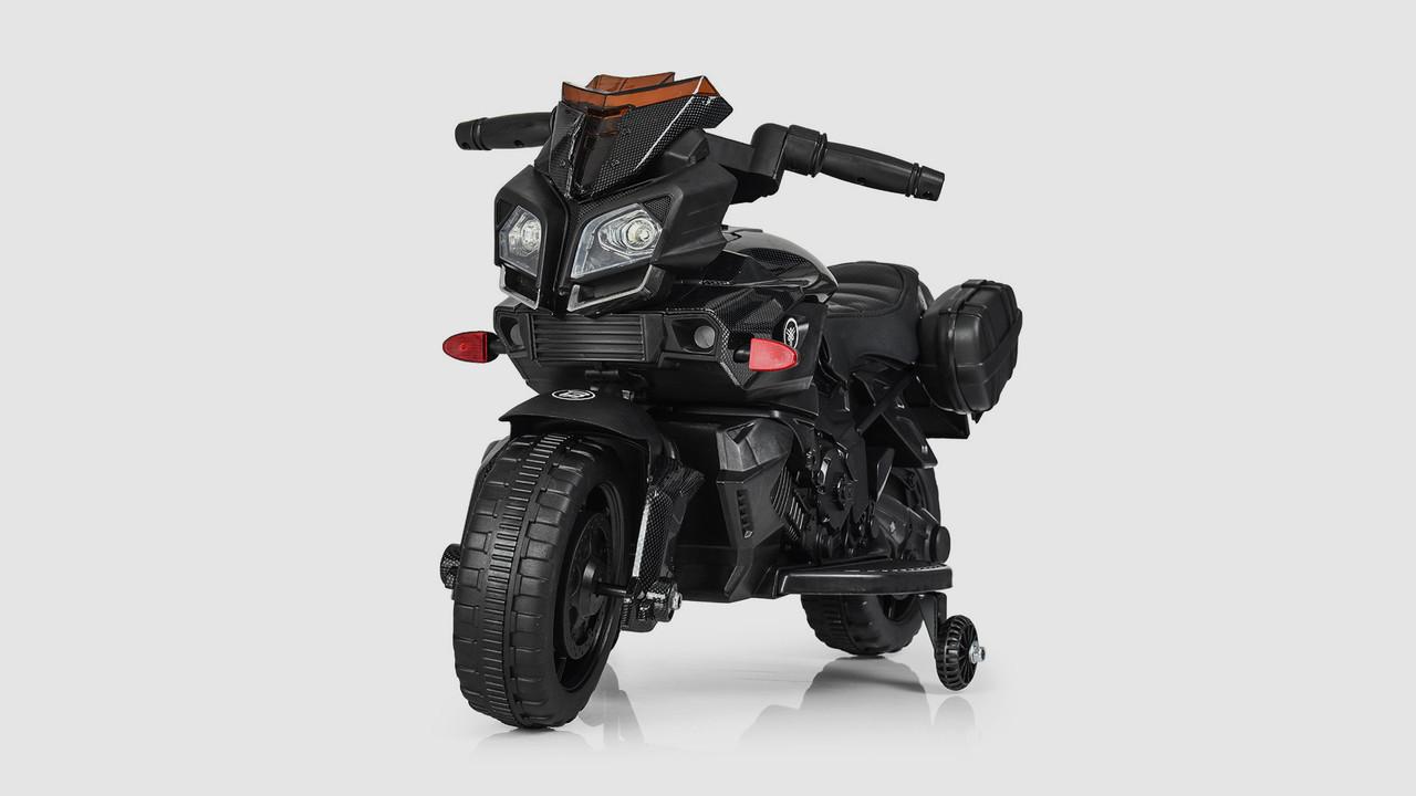 Мотоцикл BAMBI с кожаным сидением. Пластиковые колеса. Черный.