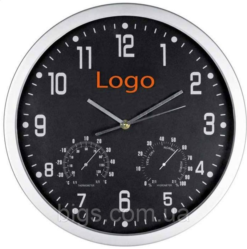 Часы настенные с термометром и гигрометром 45*4,5 см