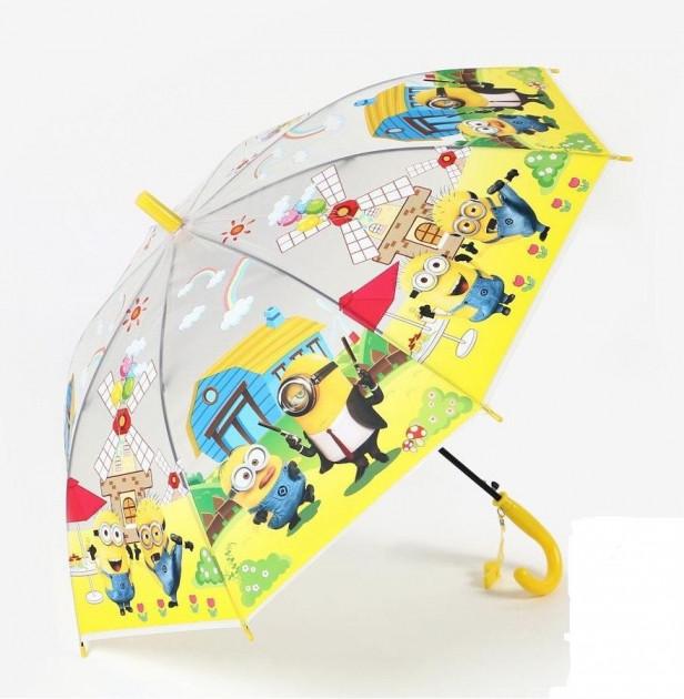 Детский зонтик трость полуавтомат с миньонами (со свистком)