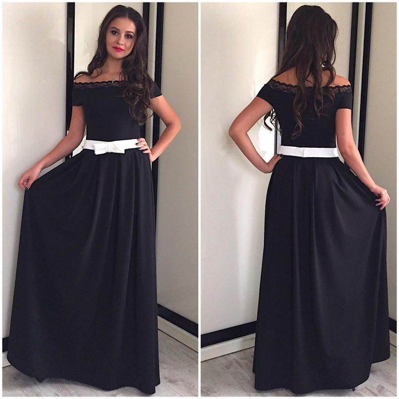 Платье с открытыми плечами и контрастным поясом (разные цвета)