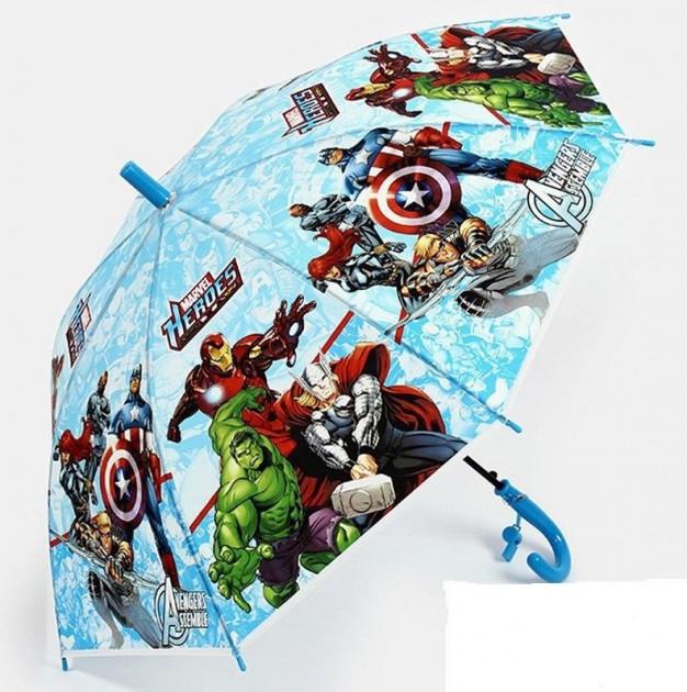 Детский зонтик для мальчика трость полуавтомат Мстители / Avengers (со свистком)