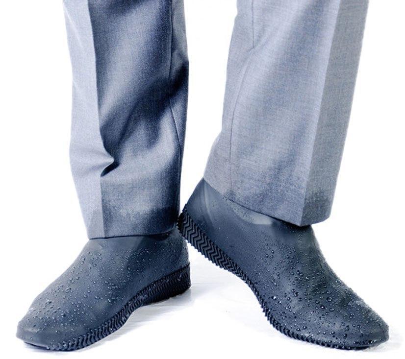 Бахилы для обуви от дождя, снега, грязи M многоразовые, силиконовые Серый (vol-749)