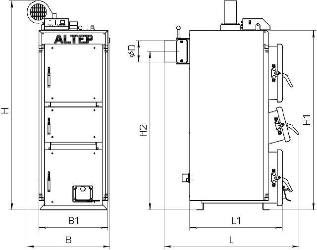 Габаритные размеры котлов Альтеп DUO UNI PLUS 15-40 кВт  Фото-1