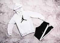 Jordan мужской белый спортивный костюм с капюшоном весна осень.Jordan Худи белое Jordan штаны с полосами