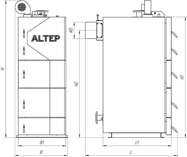 Габаритные размеры котлов Альтеп DUO UNI PLUS 50-75 кВт  Фото-1
