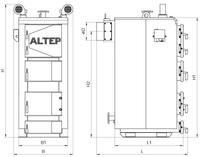 Габаритные размеры котлов Альтеп DUO UNI PLUS 95-150 кВт  Фото-1