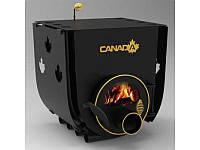 Печь дровяная отопительная, булерьян «Canada» с варочной поверхностью «01»+стекло и защитный кожух