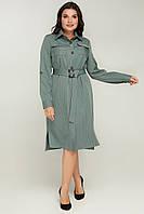 р. 50-56 Женское батальное платье - рубашка миди в полоску оливка