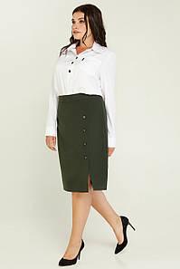 женская деловая юбка Агати больших размеров хаки