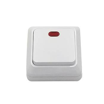 Выключатель одинарный АВАТАР с подсветкой наружный белый