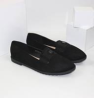 Туфли с каблуком 1 см замшевые женские 99YJ318-2 черный