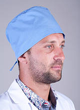 Батистовая медицинская шапка для мужчин в голубом цвете