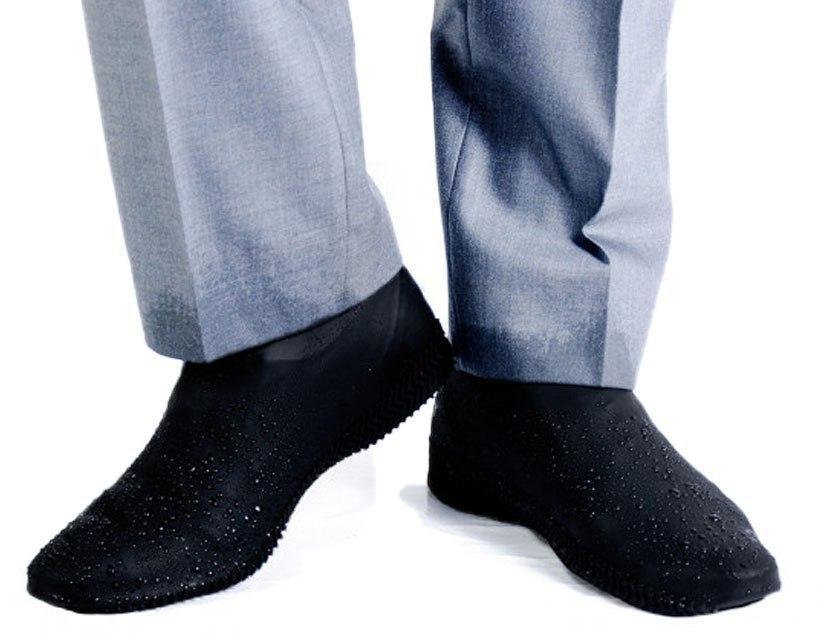 Бахилы для обуви от дождя, снега, грязи L многоразовые, силиконовые Черный (vol-753)