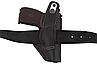 Кобура для ЛЕВШИ для ПМ-Макарова поясная + скрытого ношения на скобе, не формованная (кожаная, чёрная), фото 4