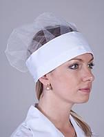 Женская медицинская шапка с сеткой в белом цвете