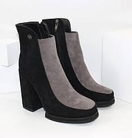 Элегантные, весенние, женские ботинки на каблуке 384 черный