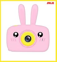 Детский цифровой фотоаппарат Smart Kids Camera Toy 9 20мп розовый в форме зайчика, детская фотокамера игрушка
