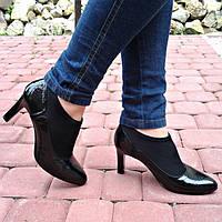 Женские модные ботинки на каблуке 8367-2 черные черный