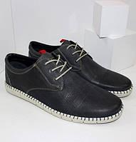 Мужские кожаные туфли повседневные A587-02 black черный